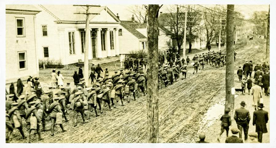 B11 - Soldiers marching to the station May, 1916