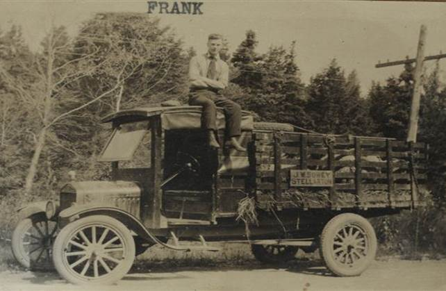 B12 - Local Food Sources. Frank Sobey atop the meat truck, 1920