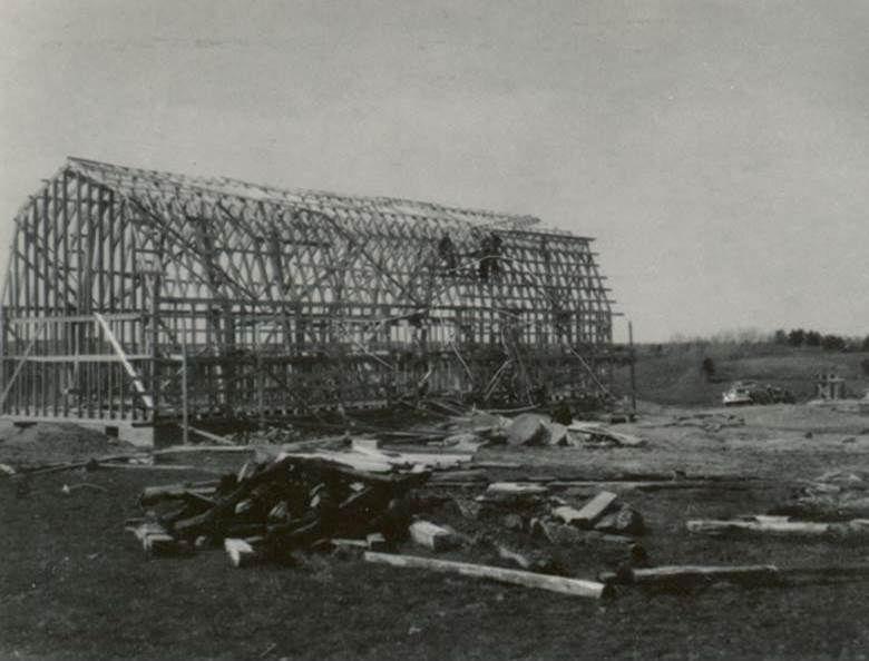 B13 - Barn raising in Pomquet, 1940s