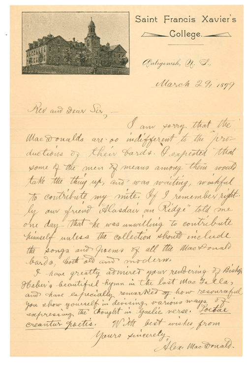 B4 - Letter on Xavier Hall, StFX , letterhead from Alex MacDonald to Rev. A. MacLean Sinclair, Belfast, PEI, dated March 29, 1899,