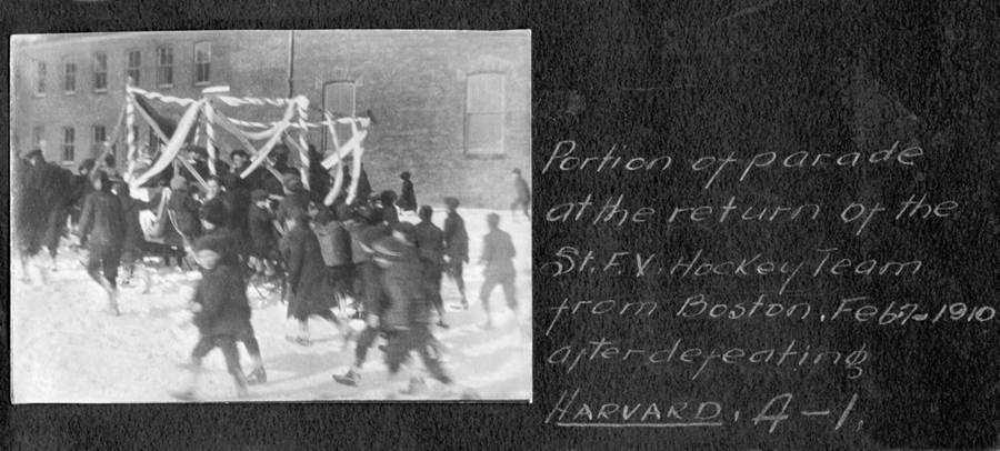 B7 - Parade to welcome home StFX hockey team after their defeat of Harvard 4-1 in Boston, February 7, 1910.