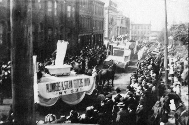 Labour Day parade 1913 Saint JOhnThe-Plumbers-union-Local-531