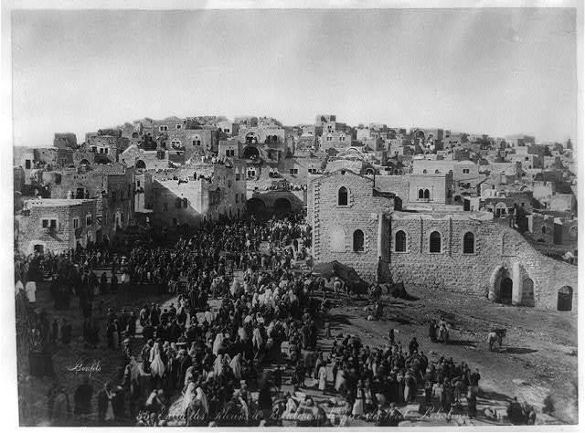PIlgrims Bethlehem Xmas Felix BOnfils 1875