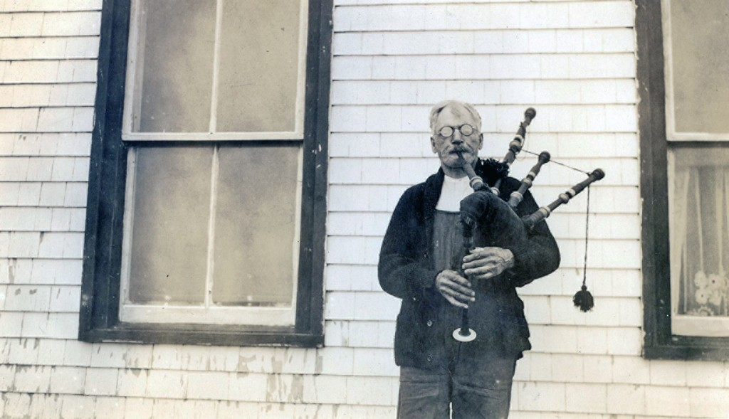Angus MacQuarrie 89 year old pipes Arisaig c 1930s on Old Photos (from Nova Scotia Archives)