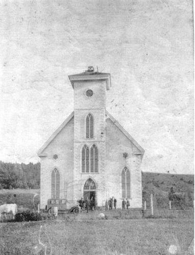 St. margaret of Scotland Catholic Church Arisaig 1928 after fire cut off burning steeple rebuilt same year