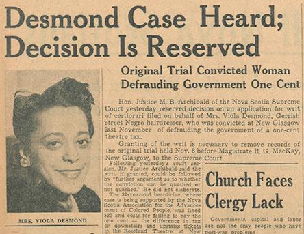 Viola Desmond newspaper clipping