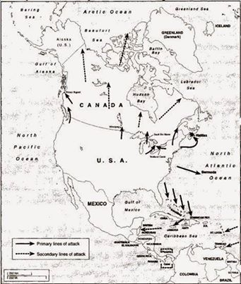Map of War Plan 1930 US invasion of Canada